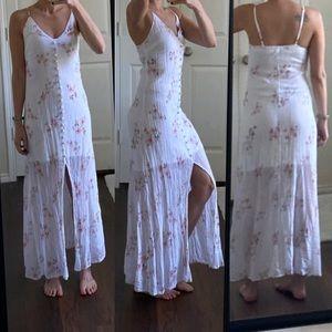 White floral cotton button down midi maxi dress